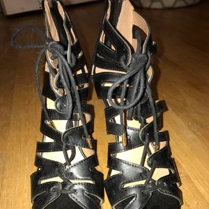 Shoes - Black laced up heels
